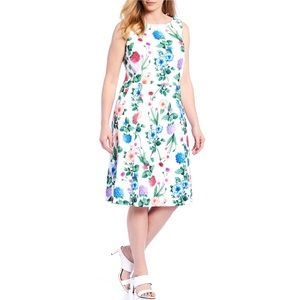 Calvin Klein White Floral Scuba Dress Size 16W
